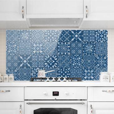 Immagine del prodotto Paraschizzi in vetro - Pattern Tiles Navy White - Orizzontale 1:2