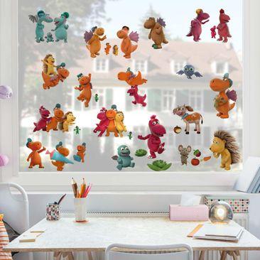 Produktfoto Fensterfolie Fenstersticker - Kleiner Drache Kokosnuss - Mega-Set