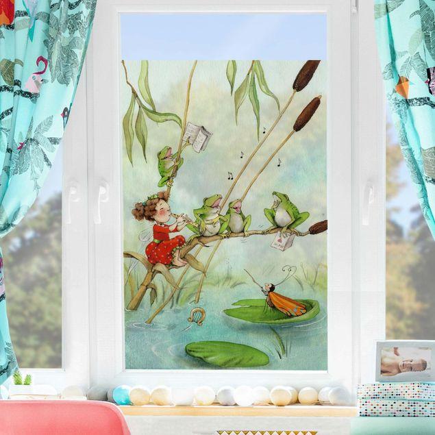 Produktfoto Fensterfolie Sichtschutz - Erdbeerinchen Erdbeerfee - Froschkonzert - Fensterbild