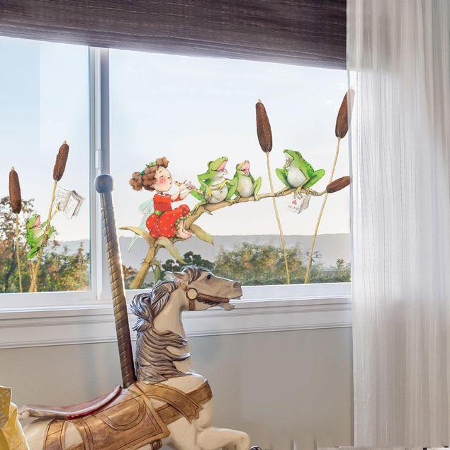 Produktfoto Fensterfolie Fenstersticker - Erdbeerinchen Erdbeerfee - Konzert mit Fröschen