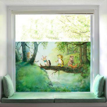 Produktfoto Fensterfolie Sichtschutz - Kleiner Tiger - Baumbrücke - Fensterbild