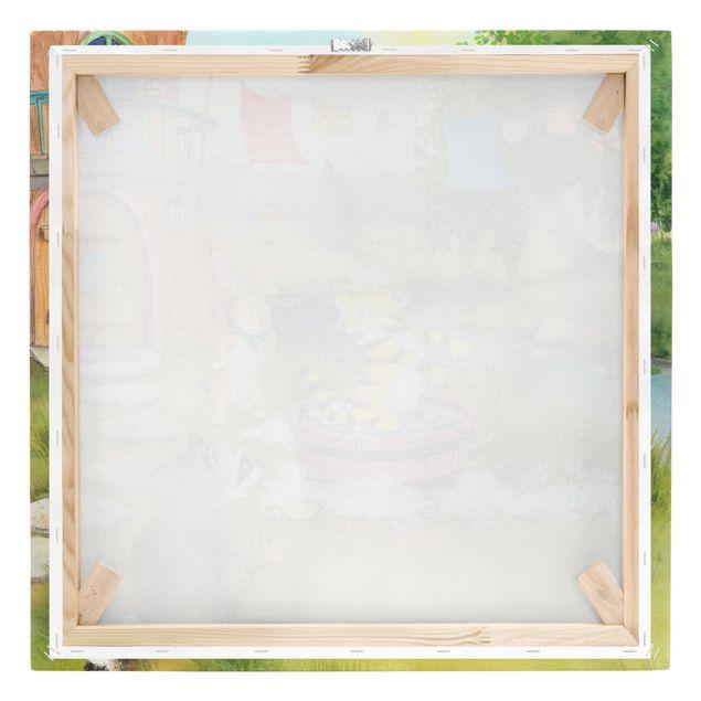 Produktfoto Leinwandbild - Kleiner Tiger - Beim Baden - Quadrat 1:1, Keilrahmen Rückseite, Artikelnummer 225727-FB