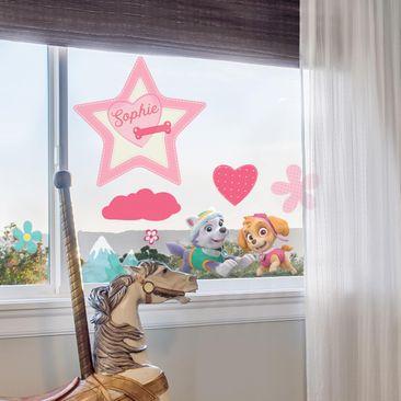 Produktfoto Fensterfolie Fenstersticker mit Wunschtext - PAW Patrol - Skye mit Herz