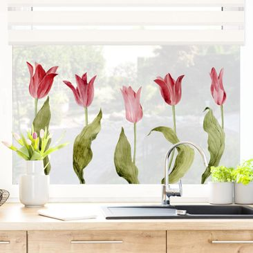 Immagine del prodotto Adesivi da finestra - Red Tulips Watercolor