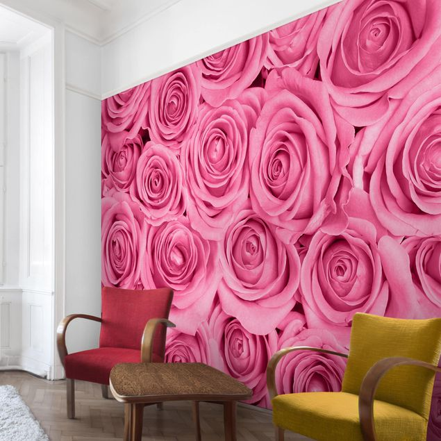 Produktfoto Tapete selbstklebend - Rosa Rosen - Wandbild Querformat