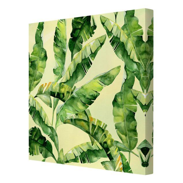 Produktfoto Leinwandbild - Bananenblätter Aquarell - Quadrat 1:1, Spiegelkantendruck rechts, Artikelnummer 225885-FR