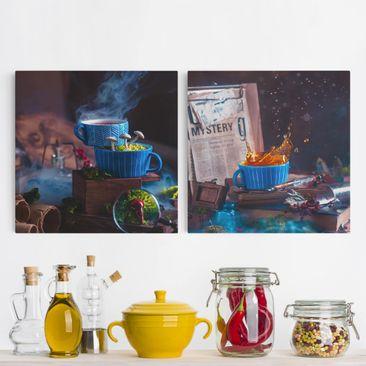 Produktfoto Leinwandbild 2-teilig - Geheimnisvolle Teetasse - Quadrate 1:1, vergrößerte Ansicht in Wohnambiente, Artikelnummer 225892-XWA