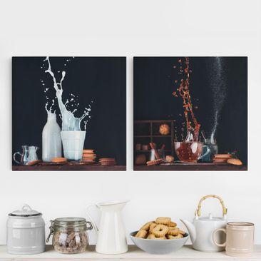 Produktfoto Leinwandbild 2-teilig - Milch und Tee Komposition - Quadrate 1:1, vergrößerte Ansicht in Wohnambiente, Artikelnummer 225893-XWA