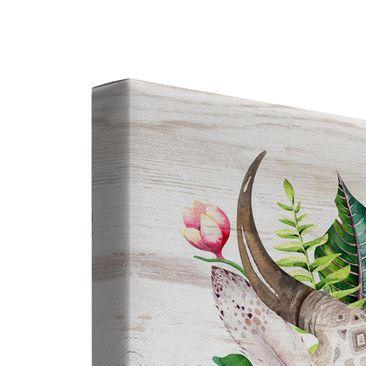 Produktfoto Leinwandbild 2-teilig - Tropical Skulls - Quadrate 1:1, vergrößerte Ansicht in Wohnambiente, Artikelnummer 225895-XWA