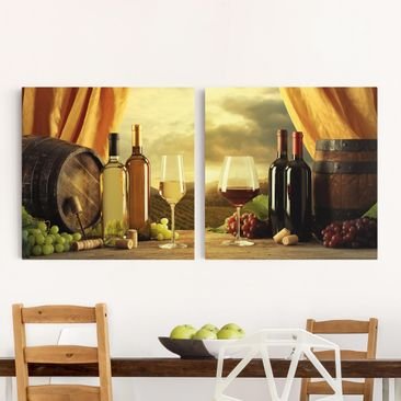 Product picture Canvas Art - Wine With A View - Squares...