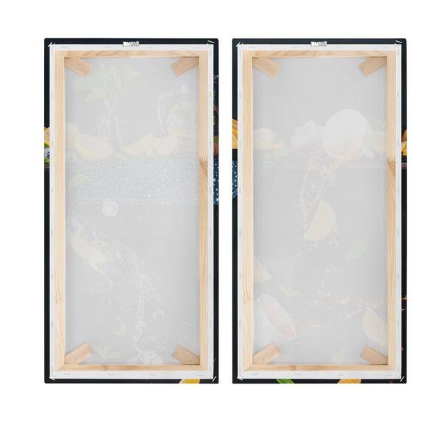 Produktfoto Leinwandbild 2-teilig - Citrus Splash - Hoch 2:1, Spiegelkantendruck rechts, Artikelnummer 225897-FR