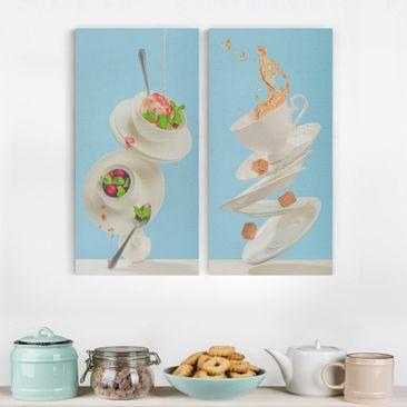Immagine del prodotto Stampa su tela - Flying Cups - Verticale...