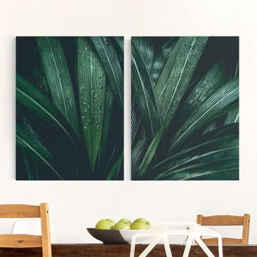 Product picture Canvas Art - Green Palm Leaves -...