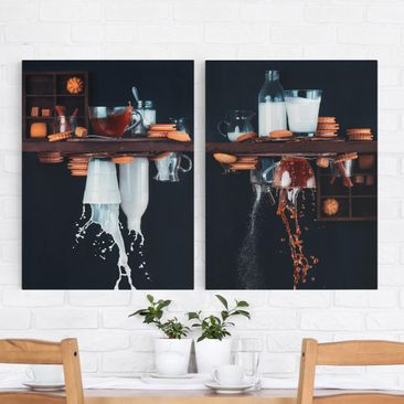 Product picture Canvas Art - Milk And Tea Composition -...