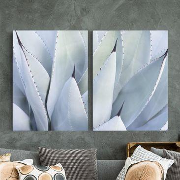 Produktfoto Leinwandbild 2-teilig - Agavenblätter - Hoch 4:3, vergrößerte Ansicht in Wohnambiente, Artikelnummer 225901-XWA