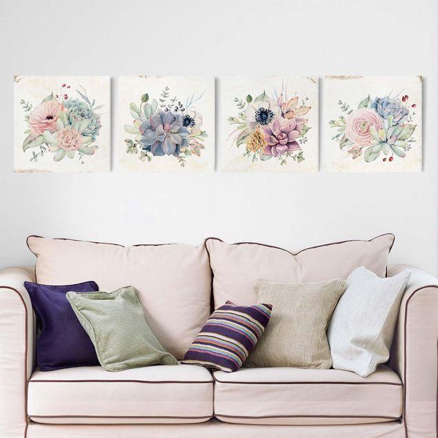 Produktfoto Leinwandbild 4-teilig - Aquarell Blumen Landhaus, in Wohnambiente, Artikelnummer 225903-WA