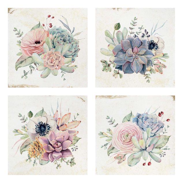 Produktfoto Leinwandbild 4-teilig - Aquarell Blumen Landhaus, Spiegelkantendruck links, Artikelnummer 225903-FL