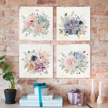 Produktfoto Leinwandbild 4-teilig - Aquarell Blumen Landhaus, vergrößerte Ansicht in Wohnambiente, Artikelnummer 225903-XWA