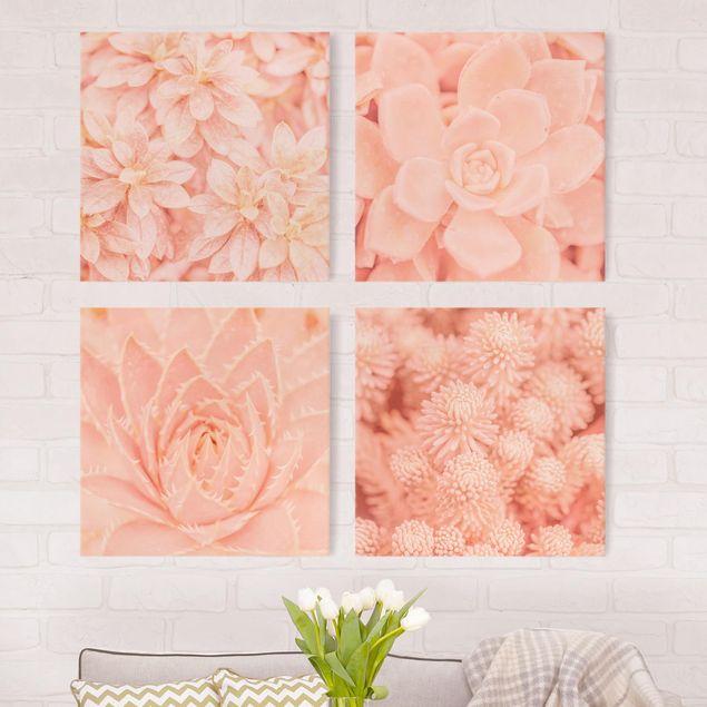 Produktfoto Leinwandbild 4-teilig - Rosa Blütenzauber, vergrößerte Ansicht in Wohnambiente, Artikelnummer 225904-XWA