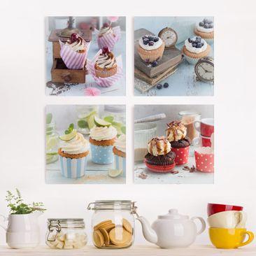 Produktfoto Leinwandbild 4-teilig - Vintage Cupcakes mit Topping, vergrößerte Ansicht in Wohnambiente, Artikelnummer 225907-XWA