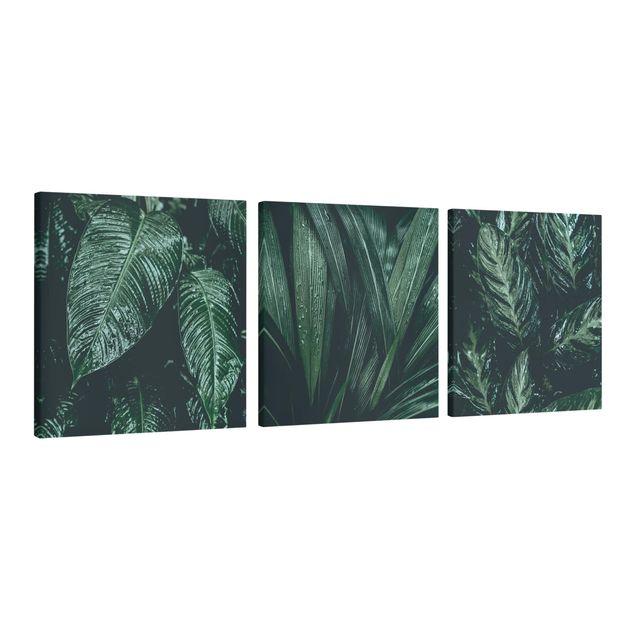 Produktfoto Leinwandbild 3-teilig - Blätter im Regen - Quadrate 1:1, Spiegelkantendruck links, Artikelnummer 225912-FL