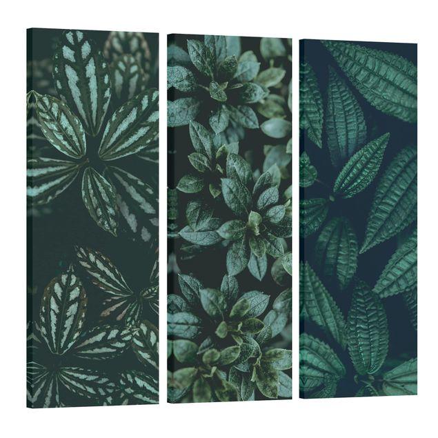 Produktfoto Leinwandbild 3-teilig - Blätter Trio - Panoramen hoch 3:1, Spiegelkantendruck links, Artikelnummer 225919-FL