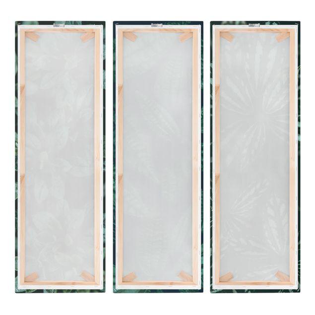 Produktfoto Leinwandbild 3-teilig - Blätter Trio - Panoramen hoch 3:1, Spiegelkantendruck rechts, Artikelnummer 225919-FR