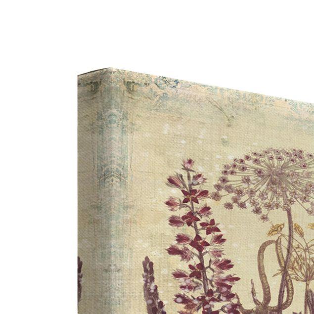 Produktfoto Leinwandbild 3-teilig - Vintage Blumen Trio - Hoch 3:2, Keilrahmen Rückseite, Artikelnummer 225926-FB