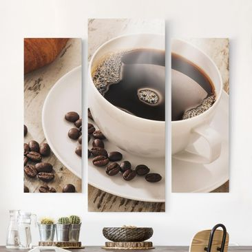Immagine del prodotto Stampa su tela - Steaming Coffee Cup With Coffee Beans - Trittico da galleria