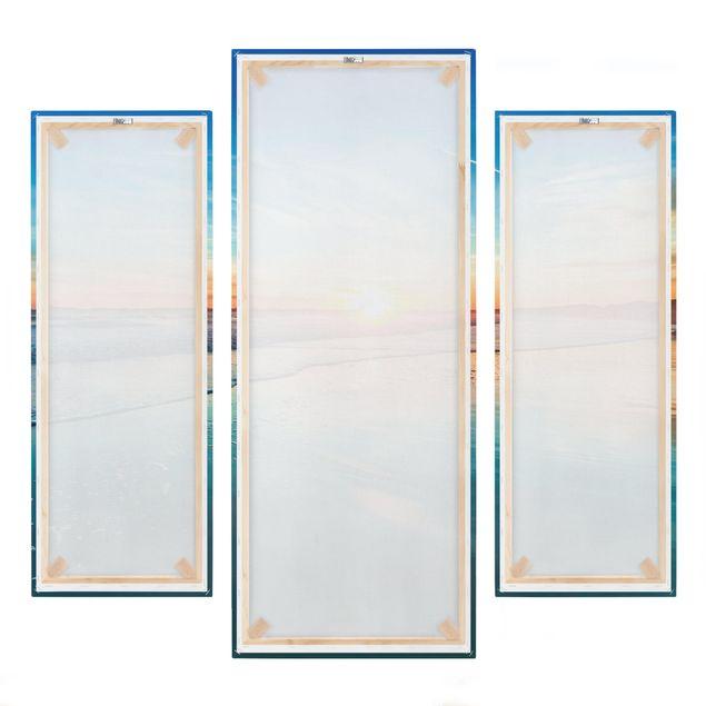 Produktfoto Leinwandbild 3-teilig - Romantischer Sonnenuntergang am Meer - Galerie Triptychon, Spiegelkantendruck rechts, Artikelnummer 225933-FR
