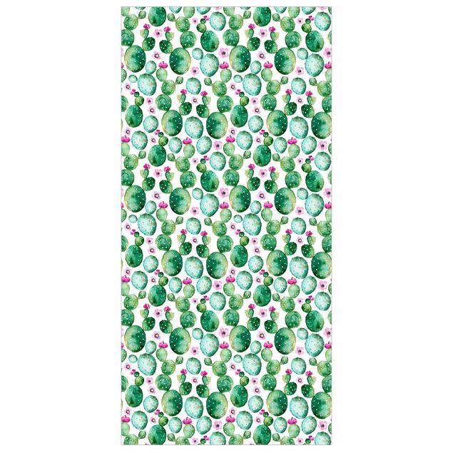 Produktfoto Raumteiler - Kaktus mit Blüten Aquarell - 250x120cm