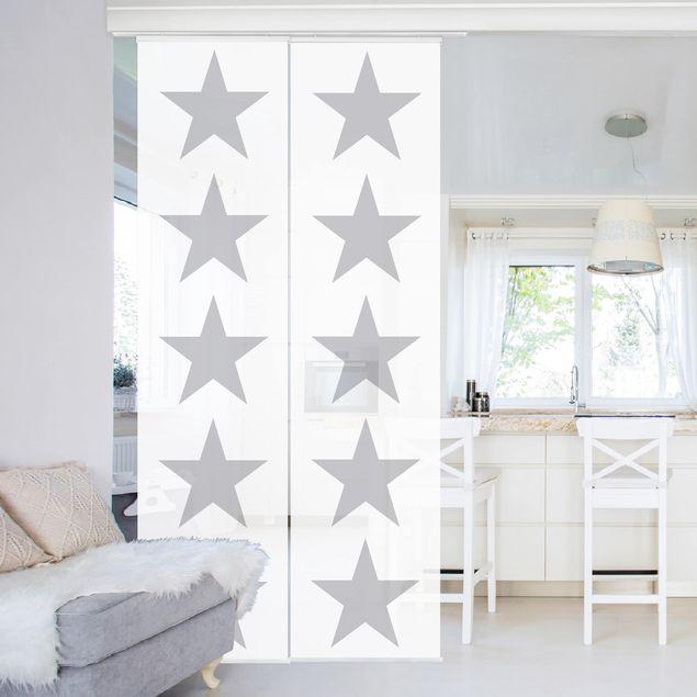 Produktfoto Schiebegardinen Set - Große Graue Sterne auf Weiß - 2 Flächenvorhänge