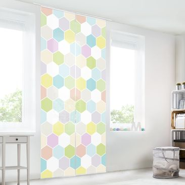 Immagine del prodotto Tende scorrevoli set - No.Yk52 Hexagon Pastel - 2 Pannelli