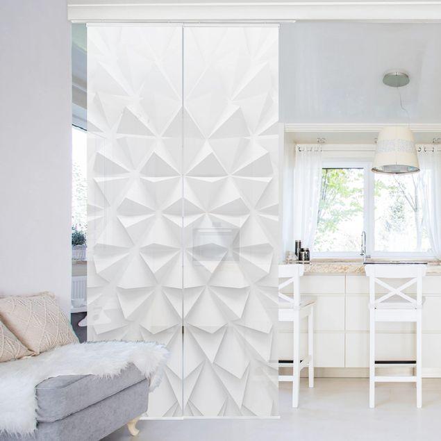 Produktfoto Schiebegardinen Set - Geometrisches Muster 3D Effekt - 2 Flächenvorhänge