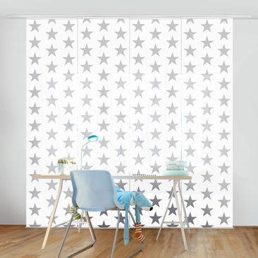 Immagine del prodotto Tende scorrevoli set - Gray Star On White - 4 Pannelli