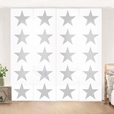 Produktfoto Schiebegardinen Set - Große Graue Sterne auf Weiß - 4 Flächenvorhänge