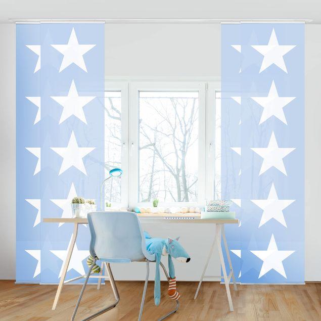 Produktfoto Schiebegardinen Set - Große Weiße Sterne auf Blau - 4 Flächenvorhänge