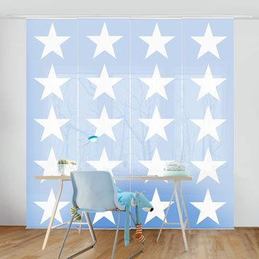 Immagine del prodotto Tende scorrevoli set - Great White Stars On Blue - 4 Pannelli