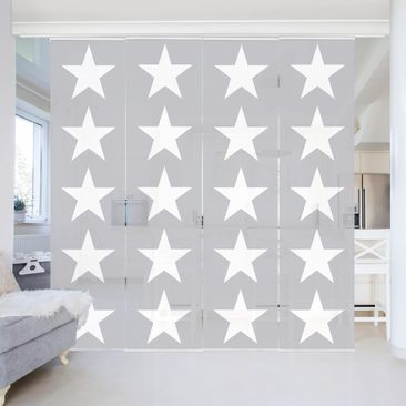 Immagine del prodotto Tende scorrevoli set - Great White Stars On Gray - 4 Pannelli