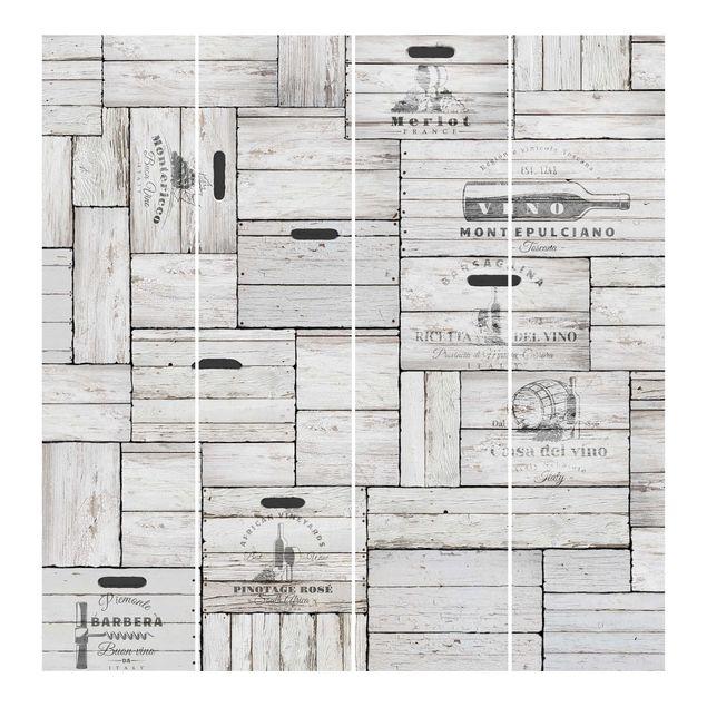 Produktfoto Schiebegardinen Set - Shabby Holzkisten - 4 Flächenvorhänge