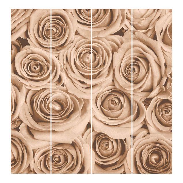 Produktfoto Schiebegardinen Set - Vintage Rosen - 4 Flächenvorhänge