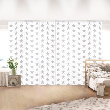 Immagine del prodotto Tende scorrevoli set - Gray Star On White - 6 Pannelli