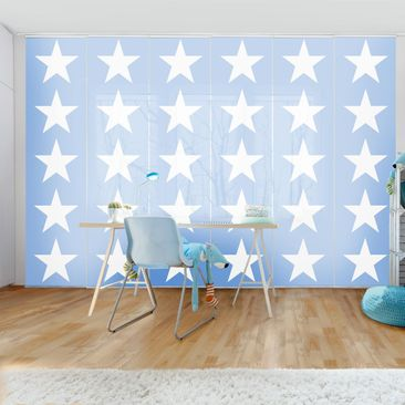 Immagine del prodotto Tende scorrevoli set - Great White Stars On Blue - 6 Pannelli