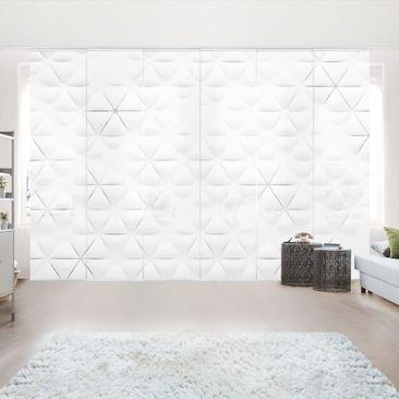 Produktfoto Schiebegardinen Set - Abstrakte Dreiecke in 3D - 6 Flächenvorhänge