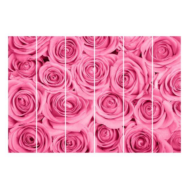 Produktfoto Schiebegardinen Set - Rosa Rosen - 6 Flächenvorhänge