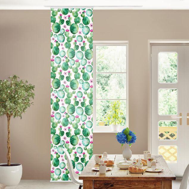 Produktfoto Schiebegardinen Set - Kaktus mit Blüten Aquarell - Flächenvorhang