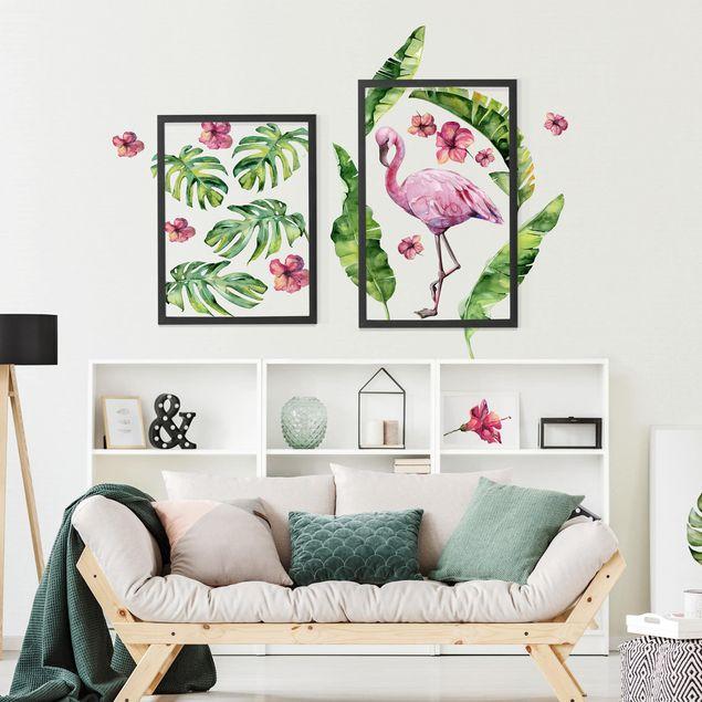 Produktfoto Wandtattoo - Dschungel Flamingo Blätter Set