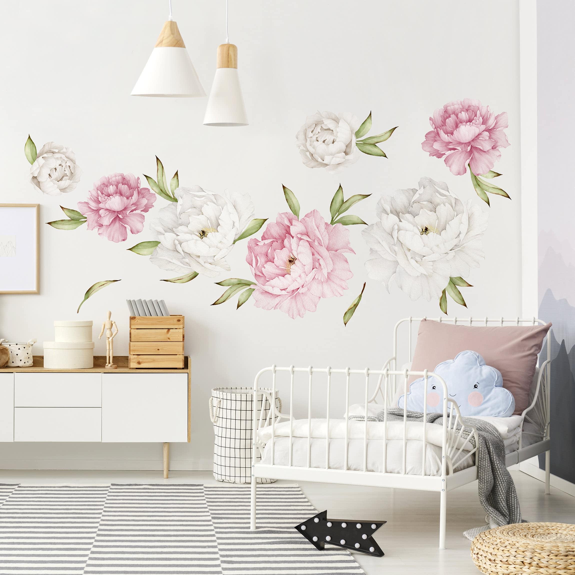 Adesivi murali fiori set di peonie rosa e bianche for Stickers pareti