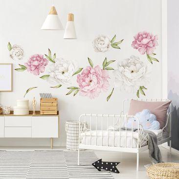 Immagine del prodotto Adesivo murale - Set di peonie rosa e bianche