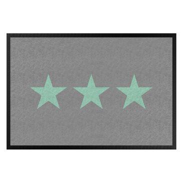 Produktfoto Fußmatte - Drei Sterne grau mint